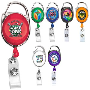 """Oberlin Pl"" Full-Color Retractable Carabiner Style Badge Reel & Badge Holder"